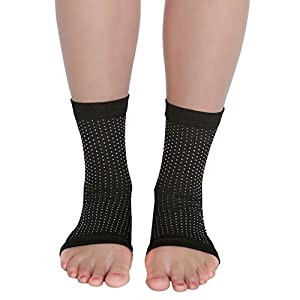 Plantar Faciitis Sleeves - Compression Arch Support for Foot Pain Relief and Free Ebook on Plantar Fasciitis Therapy (Small / Medium)