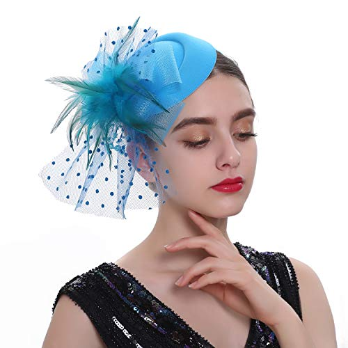 Zivyes Fascinator Hats for Women 20s 30s 50s Pillbox Hat Headband and a Forked Clip Tea Party Headwear (2-Lake Blue)