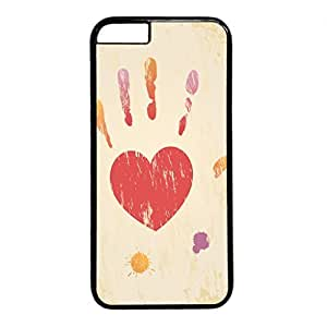 iCustomonline Heart Hand Shape Snap on Hard PC Black Cover for iPhone 6 (4.7 inch) Protective Case