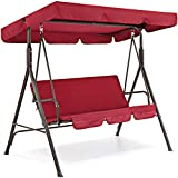 Best Choice Products 2-Person Outdoor Large Convertible Canopy Swing Glider Chair with Removable Cushions, Burgundy