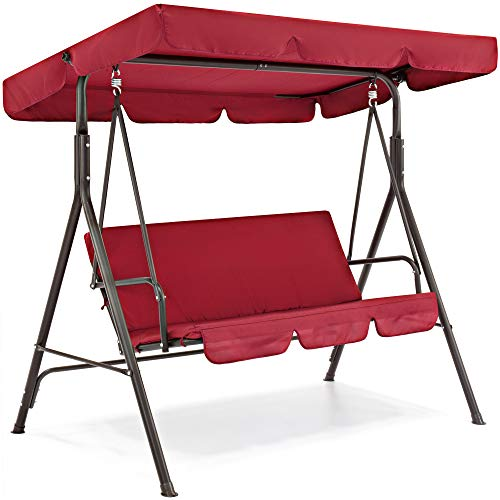 Best Choice Products 2-Person Outdoor Large Convertible Canopy Swing Glider Lounge Chair w/Removable Cushions- Burgundy (Seater Swing Patio 3)