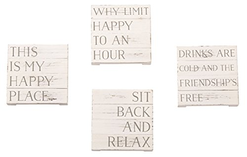 Mud Pie 4 1/4 Inches Square Happy Place Planked Coaster -