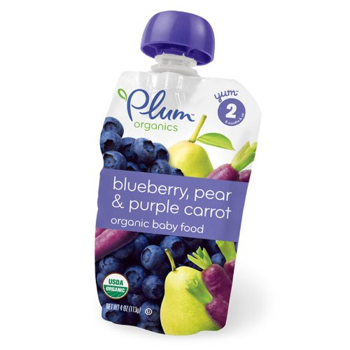 Plum Organics Baby Food, Blueberry, Pear & Purple Carrot, 4-Ounce Pouches (Pack of 24) by Plum Organics