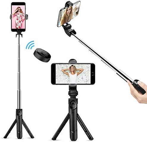 Selfie Stick Bluetooth, Doosl Selfie Stick Tripod - Extendable Tripod Stick with Remote - Facetime Phone Stand, Wireless Selfie Stick Tripod, Portable Tripod for Phone