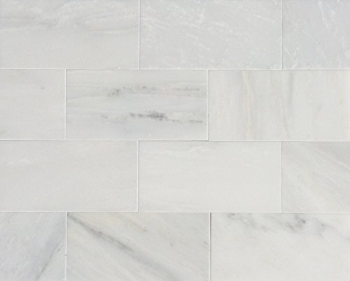 3x6 White Carrara Honed Finish Subway Marble Tile Backsplash Wall