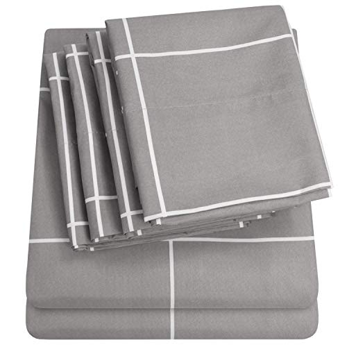 Queen Sheets Window Pane Gray - 6 Piece 1500 Thread Count Fine Brushed Microfiber Deep Pocket Queen Sheet Set Bedding - 2 Extra Pillow Cases, Great Value, Queen, Window Pane Gray ()