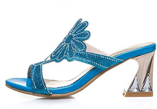 verano tacones mujeres zapatillas YCMDM blue hueco gran diamante altos nuevo tamaño de sandalias wt6tW5qdn