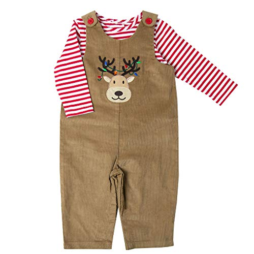 - Good Lad Newborn/Infant Appliqued Overall Set with Red and White Knit Bodysuit (3/6M, Tan)