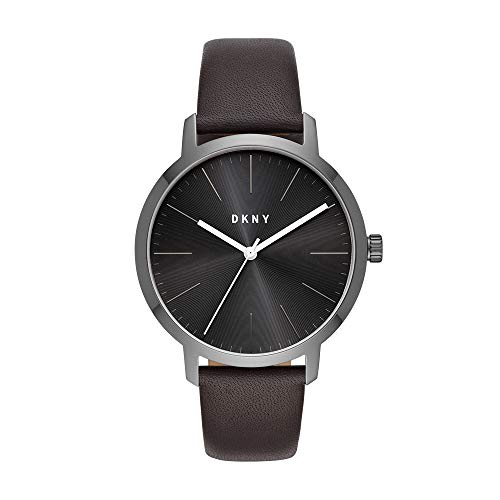 DKNY Men's The The Modernist Stainless Steel Quartz Watch with Leather Strap, Brown, 20 (Model: NY1601)