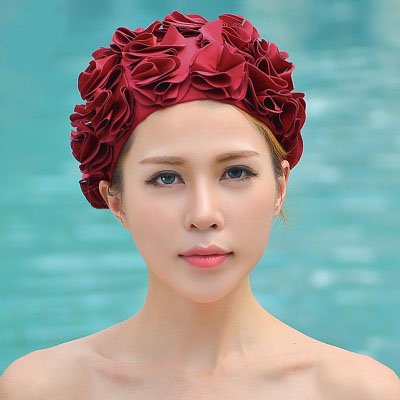 Ladies Petal Flower Vintage Style Swimming Hat Cap Sports Siwm Pool Swimming equipment wine red Style Swimming Pool