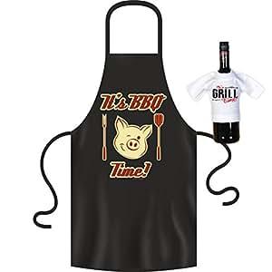 Delantal its BBQ Time Delantal Set de regalo con estampado mini botella Camiseta