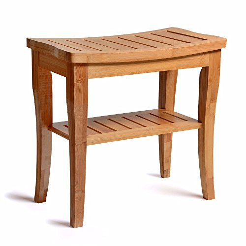 Seat Deluxe Storage Dry - Bamboo Shower Bench - Storage Shelf - Wooden Bathroom Seat - Inside Outside Design - Waterproof & Weatherproof - All- Natural Slotted Wood - Home Spa & Sauna