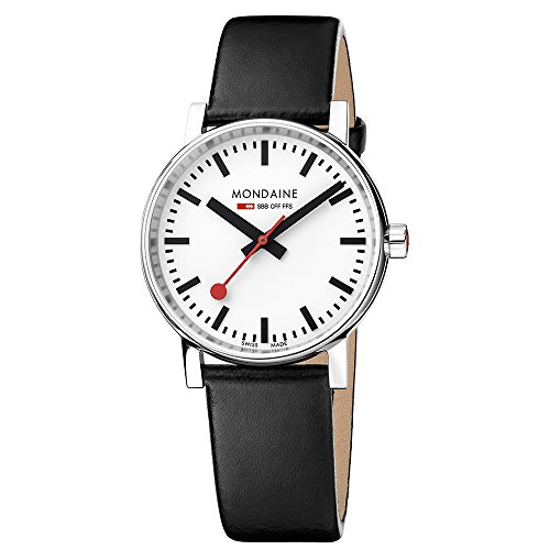 Mondaine ' SBB' Swiss Quartz Stainless Steel and Leather Casual Watch, Color:Black (Model: MSE.35110.LB) (Lb Steel)