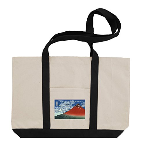 Red Southern Wind On Fiji (Hokusai) Cotton Canvas Boat Tote Bag Tote - Black