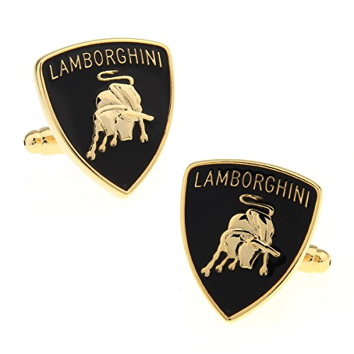 - Lamborghini Super Car Logo Cufflinks French Dress Cufflinks Gift Set One Pair Golden Color with Gift Bag