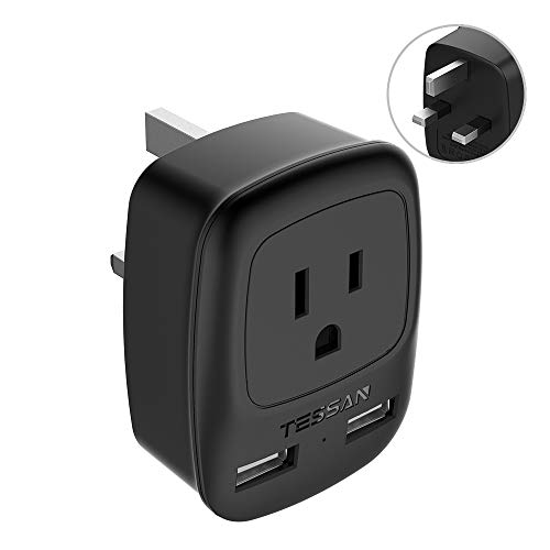 UK, Ireland, Hong Kong Travel Plug Adapter, TESSAN USA to UK British England Scotland Irish Outlet Power Adaptor with 2 USB Charging Ports- 3-Prong Grounded Type G Plug