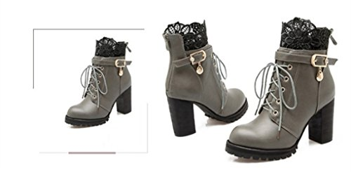 XZ Gray Boots Style Thick Heel Martin Lace Western wRFqwSf7