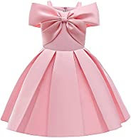 Super Fairy Girls Off Shoulder Bridesmaid Wedding Party Dresses Kids Satin Pageant Ball Gown