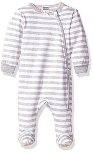 Kushies Baby Girls Classics Side Zip Sleeper, Grey Stripe 9m