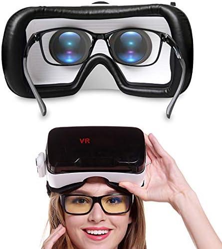 バーチャルリアリティのメガネ3D 4.7〜6.0インチのiPhone / Androidスマートフォンに最適、 ゲーム映画,Black,Package8