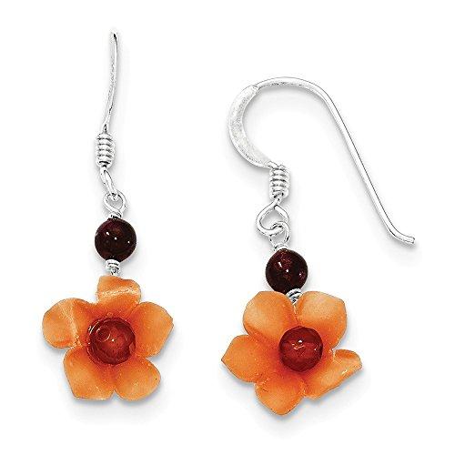 .925 Sterling Silver 35 MM Garnet Bead & Carnelian Dangle Flower Sheperds Hook Earrings