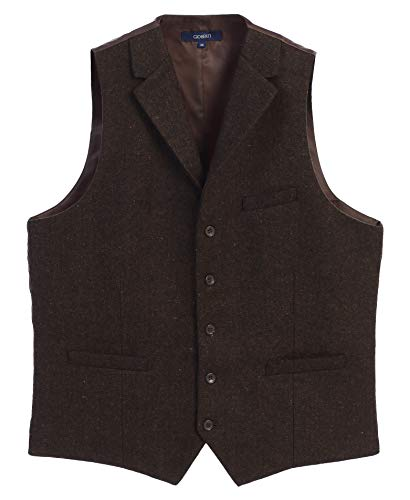 ton Tailored Collar Formal Tweed Suit Vest, Brown Herringbone, Size X-Large ()