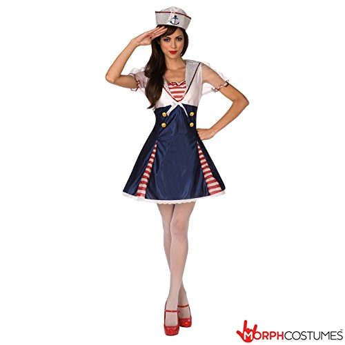 Womens Sea Cadet Sexy Sailor Marine Fancy Dress Costume - 2 Piece Quality Costume (Sexy Female Marine)