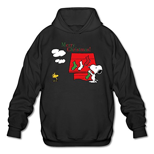 Men's Funny Snoopy The Peaut Christmas Socks Hoodie Black Small (Christmas Ruess Nate)