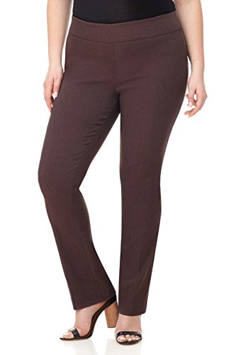 Rekucci Curvy Woman Plus Size Modern Straight Leg Pant w/Tummy Control (18WSHORT,Brown Mix) - Wide Trouser Leg Twill