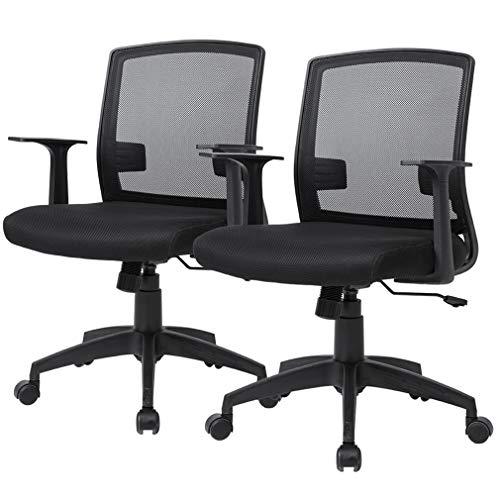 Office Chair Desk Chair Computer Chair with Lumbar Support Armrest Ergonomic Cheap Swivel Rolling Mesh Mid Back Executive Chair for Women Men Adults,Black 2 Pack