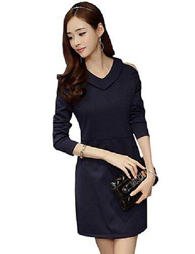 PU&PU Robe Aux femmes Gaine Simple,Couleur Pleine Col en V Au dessus du genou Polyester , blue-2xl , blue-2xl