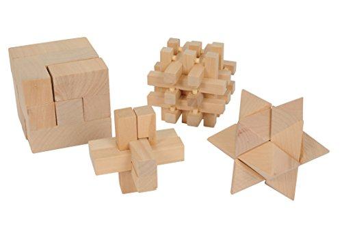 Lifetime 85450 4 Holz Puzzle Denkspiel Geduldspiel Würfel