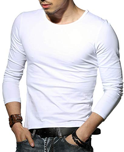 it Top Muscle Cotton Crew Neck Long Sleeve Undershirts T-Shirts, M, White ()