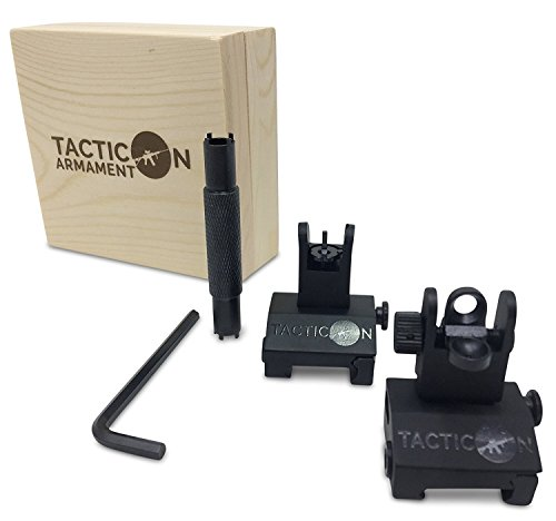 TACTICON Flip Up Iron Sights For Rifle Includes Front Sight Adjustment Tool | Rapid Transition Backup Front And Rear Iron Sight BUIS Set Picatinny Rail And Weaver Rail (Purchase Iron)