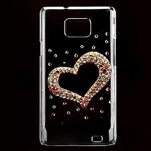 La forma del corazón Caso duro del patrón con el Rhinestone para Samsung I9100 Galaxy S2