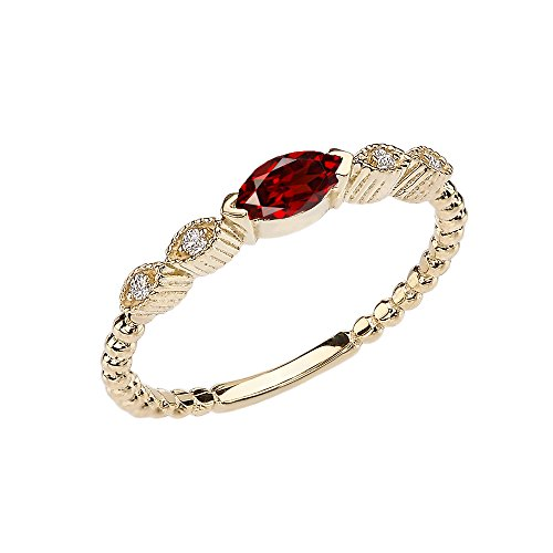 Modern Contemporary Rings 10k Yellow Gold Marquise Cut Engagement/Proposal Diamond Ring with Genuine Garnet Center Stone (Size 5.5)