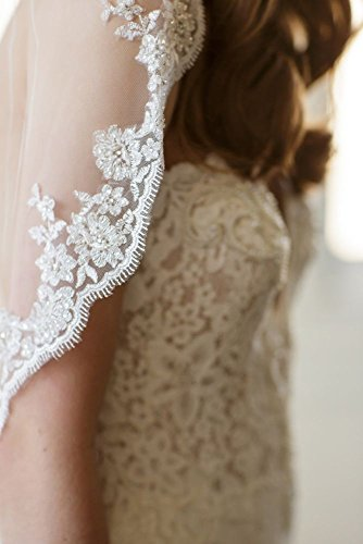 Scalloped Alencon Lace-Trimmed Veil with Comb Style ABBEY, Ivory, 30 inches by David's Bridal