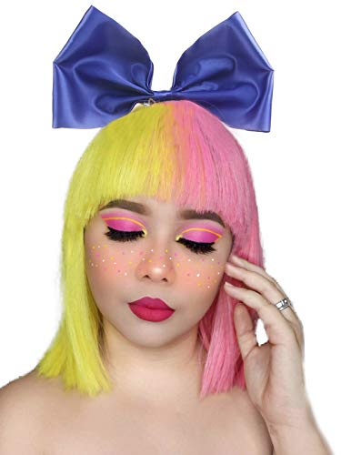 Half Pink Half Yellow Christmas Costume Fluffy Short Bob Wigs Cosplay Halloween Wigs with Bangs for Women Girls with Bow Tie]()