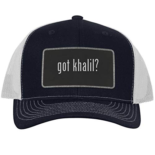 got Khalil? - Leather Black Metallic Patch Engraved Trucker Hat, NavyWhite, One Size