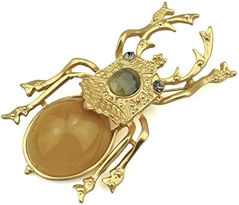 PHANTOMブトムシブローチ女性のためのアクセサリーゴールドメタルピン昆虫スカラベブローチ大樹脂 Broches ファッション高級ジュエリーギフト (Gold)