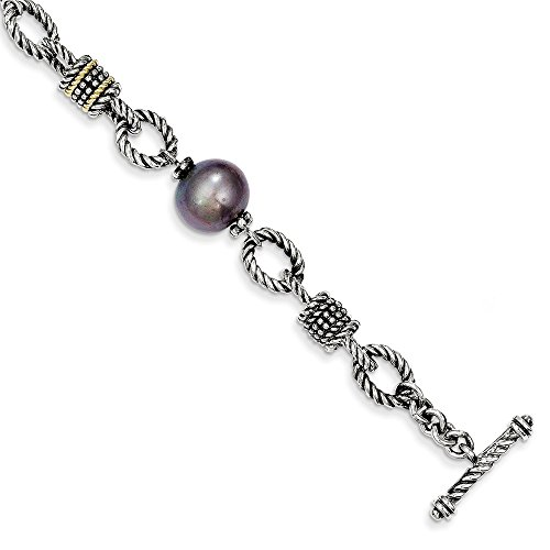 Sterling Silver w/14k 9-9.5m FW Cultured Black Pearl Bracelet