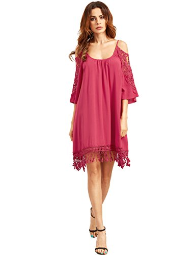 Milumia Women's Summer Cold Shoulder Crochet Lace Sleeve Loose Beach Dress Rose S