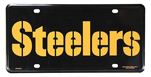 "NFL Pittsburgh Steelers ""Wordmark"" Metal Auto Tag, Black at SteelerMania"