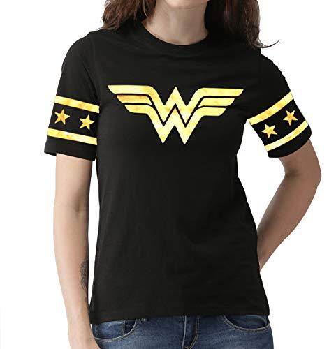 Miracle Mugs Wonder Superhero Tshirt for Women - Womens Gold Foil Casual Wonder Black Shirt (M) ()