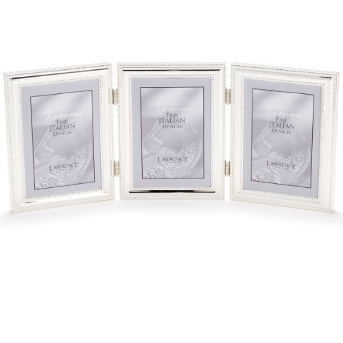 Lawrence Frames 510745T Silver Plated Double Bead Hinged Triple Picture Frame, 4 by 5-Inch ()