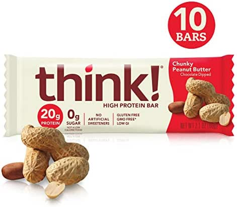 think! (thinkThin) High Protein Bars - Chunky Peanut Butter, 20g Protein, 0g Sugar, No Artificial Sweeteners, Gluten Free, GMO Free*, 2.1 Ounce (10 Count) Packaging May Vary