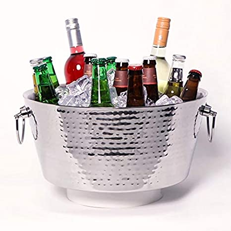 Brekx Hammered Stainless Steel Beverage Tub Double Walled Insulated Anchored Drink Tub Ice Bucket With Double Hinged Handles Drink Chiller For Parties 12 Quarts Kitchen Dining
