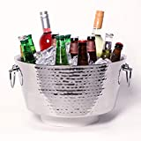 BREKX Hammered Stainless-Steel Beverage Tub, Double-Walled Insulated Anchored Drink Tub & Ice Bucket with Double Hinged Handl