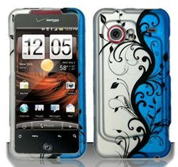 Click to buy HTC Droid Incredible 6300 (Verizon) Blue/Silver Vines Design Hard Case Snap On Protector Cover + Car Charger + Free Neck Strap + Free Wrist Band - From only $15.99