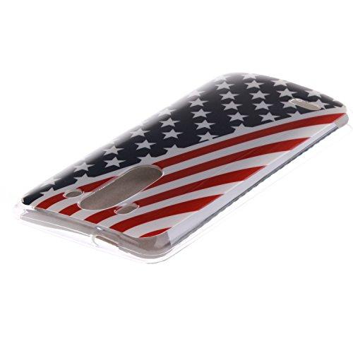 LG G3 Mini Funda,Ligero a Prueba de Choques Flexible Ultra Fino Suave TPU Parachoque Carcasa MAGQI Tecnología IMD Diseño Impreso Vendimia Serie Patrón [Absorción de Impacto] Resistente a los Arañazos  Bandera